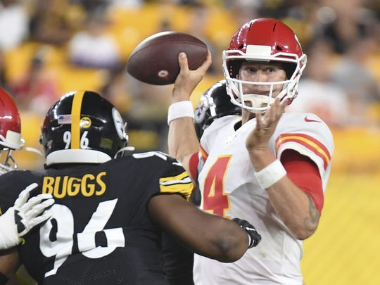 Pittsburgh Steelers defensive tackle Isaiah Buggs (96) pressures Kansas City Chiefs quarterback Chad Henne (4) in the first half of a preseason NFL football game, Saturday, Aug. 17, 2019, in Pittsburgh. (AP Photo/Barry Reeger)