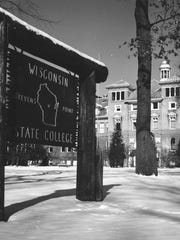A photo of Wisconsin State College at Stevens Point, the future University of Wisconsin-Stevens Point, from the 1950s.