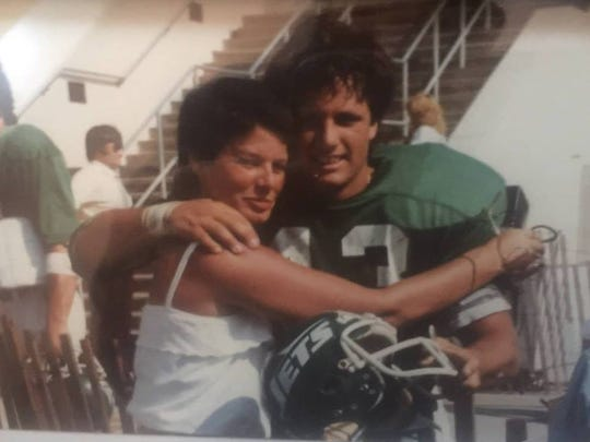 Guy Albanese, here in a summer 1980 photo with his mother, Joan, after a practice with the Jets.