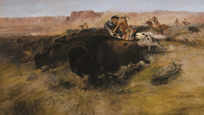 """""""Buffalo Hunt #7"""" by Charles M. Russell will be the leading art piece in the museum's live auction on March 17, 2018."""
