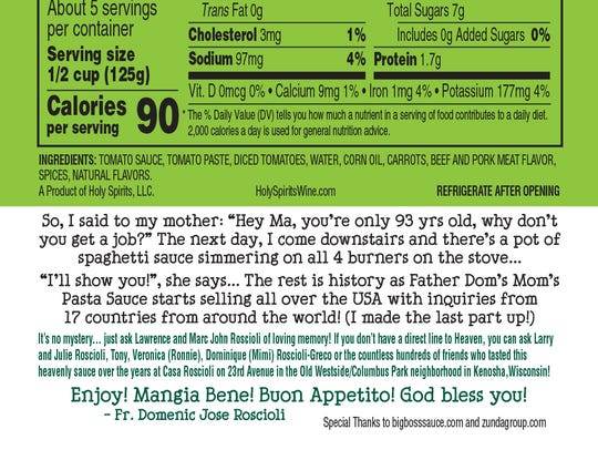 The label of Father Dom's Mom's Pasta Sauce includes