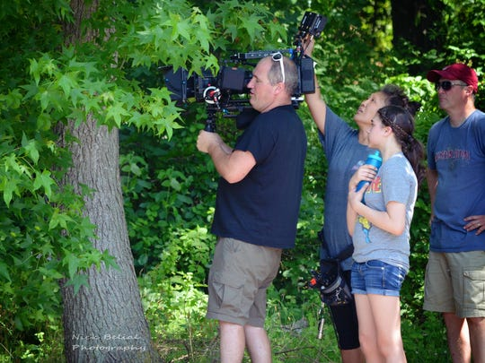 Emily DiPrimio of Vineland is shown on the set with filming crew Troy Bakewell, Heather Bakewell and Doug Cogit on the set of 'Carver.'