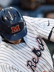 Ole Miss center fielder Ryan Olenek, shown in this 2017 file photo, is questionable for the upcoming weekend stretch for the Rebels.