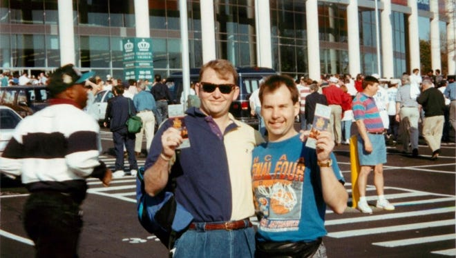 Doug Knust (left) and Christopher Korth at the 1994 Final Four in Charlotte.