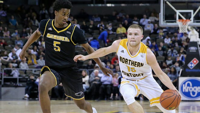 Northern Kentucky Norse guard Tyler Sharpe (15) dribbles just inside the 3-point line in the first half during the NCAA basketball game between the Milwaukee Panthers and the Northern Kentucky Norse, Thursday, Feb. 8, 2018, at BB&T Arena in Highland Heights, Ky.
