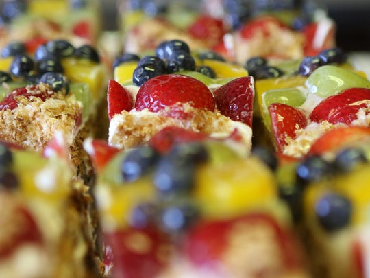 Fruit Napoleons are displayed at Butterflake  in Teaneck.