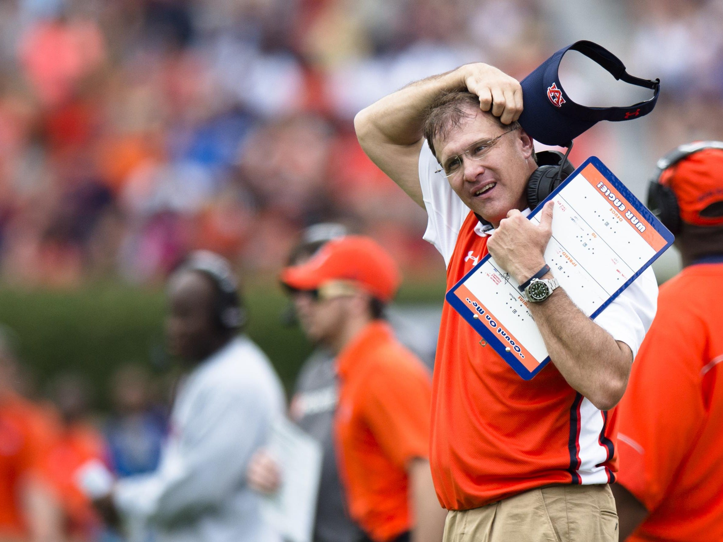 Auburn Tigers head coach Gus Malzahn reacts to Auburn Tigers defensive back Blake Countess being ejected during the first half against Jacksonville State on Saturday at Jordan-Hare Stadium.
