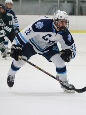 John D'Aniello (28) of CBA races after a puck in Wendesday's 4-1 loss to Delbarton.