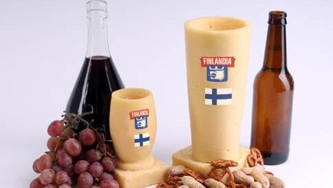 Finlandia beer and wine glasses. Is this a joke? We can't tell.