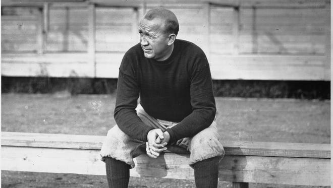 The Indianapolis Star's first full-time photographer Paul Shideler photographed legendary University of Notre Dame football coach Knute Rockne who compiled a 105-12-5 record from 1918 to 1931. He fielded five undefeated teams. Rockne died in a plane crash in 1931 at the age of 42.