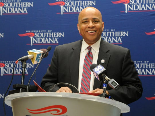 Ron Rochon addresses the media after the University of Southern Indiana board of trustees announced Rochon as the university's new president. The board voted 9-0 in favor of Rochon after a brief discussion at Thursday's meeting. Rochon became provost at USI in 2010. He's the university's fourth president.