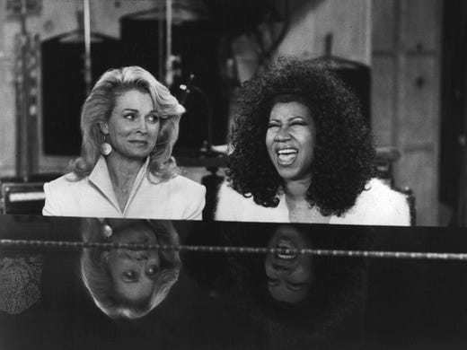 Candice Bergen and Aretha Franklin appear on the CBS