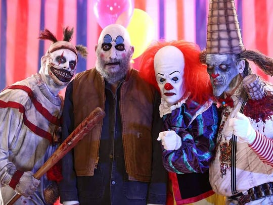 Four men dressed as creepy clowns at a previous Days