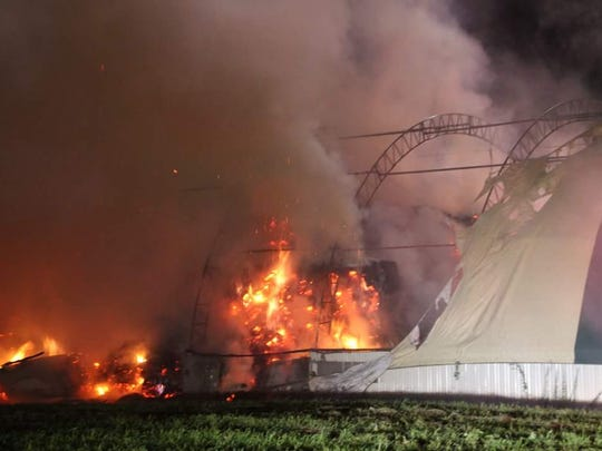 This fire at a hay storage barn on Jack Road the evening