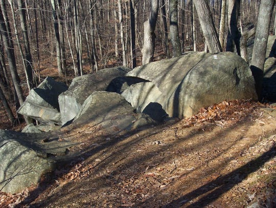 The igneous rock diabase exposed on Toboggan Run in