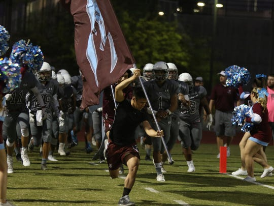 Rancho Mirage High School hosted Bell Gardens in a varsity football game in Rancho Mirage on Friday, September 29, 2017.