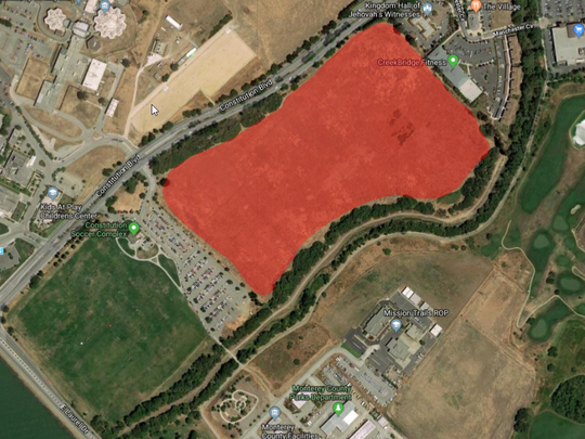 The area where the Salinas Regional Soccer Complex (shaded in red) will be developed includes 42 acres of open land on Constitution Boulevard across from the Natividad Medical Center.