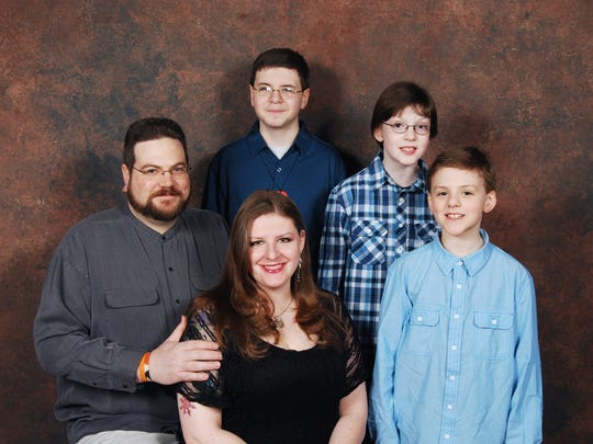 The Mays family: from left, Adam Mays, 40, Melissa Mays, 37, Caleb, 17, Christian, 12 and Cole, 11 - have endured hardships in the Flint water crisis.