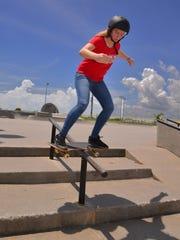 Meagan Guy, seen here at the Cocoa Beach Skatepark,