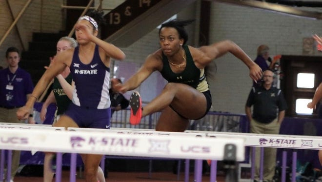 CSU Athletics Lorenda Holston competes in an indoor meet earlier this year. Holston was one of 10 CSU track and field athletes to be named to a All-American team after competing at the NCAA Outdoor Championships last week.