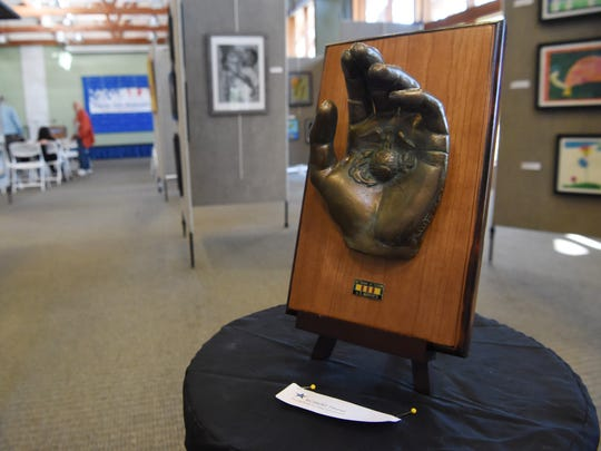 A piece of art produced by a veteran on display at