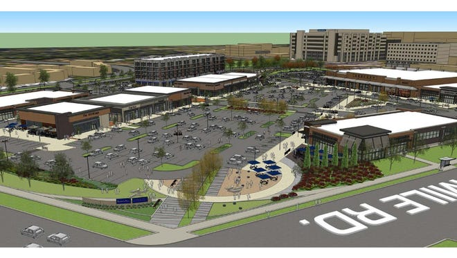 A rendering of the future Woodward Corners by Beaumont shopping center.