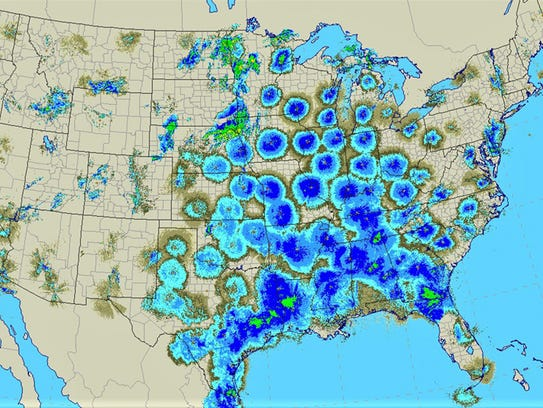 This radar image from around 1am May 8, shows millions