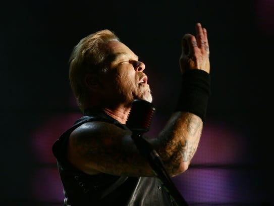 James Hetfield of Metallica performs onstage on Friday,