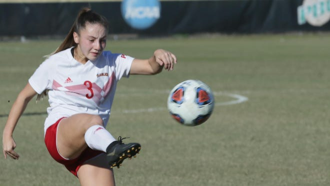 Creekside graduate Hannah Dolores takes a shot on goal for the Flagler College women's soccer team during a NCAA Division II women's soccer quarterfinal against Nova Southeastern on Dec. 8, 2019.