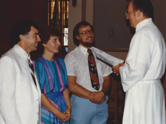 Ted Voelker, third from left, is installed at Immanuel Lutheran Church and School in 1983. Also pictured are Chuck Weiss, Bonnie Weiss and Pastor Bob Buckman.
