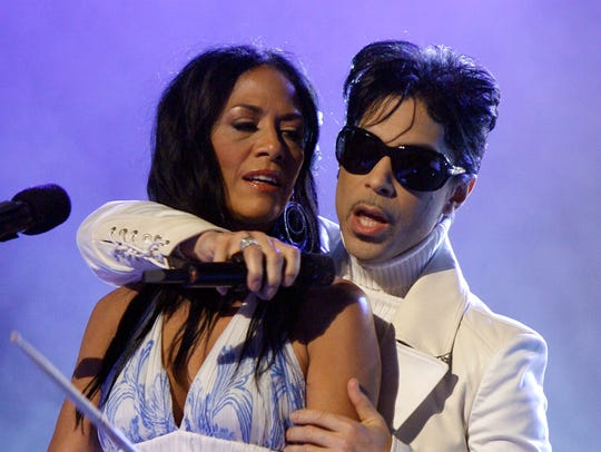 Sheila E., left, seen performing wiht Prince in 2007,