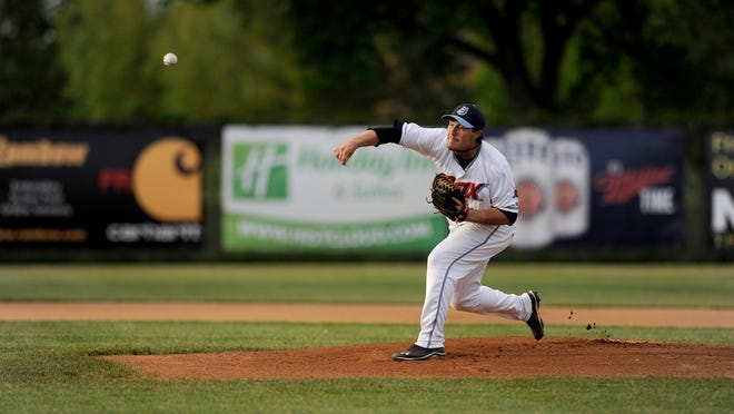 Rox pitcher Reese (13) throws a pitch during the first inning of their game with the Thunder Bay Border Cats on Friday night at Faber Field in St. Cloud.