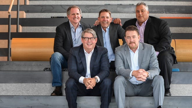 The five co-heads of WME are: from front left, Jay Williams and Rob Beckham; and from back left, Scott Clayton, Greg Oswald and Joey Lee.