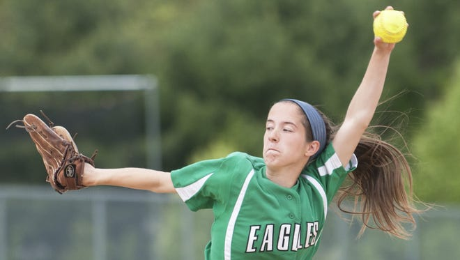 West Deptford's Paige Schlecter delivers a pitch during Monday's game against Rancocas Valley.
