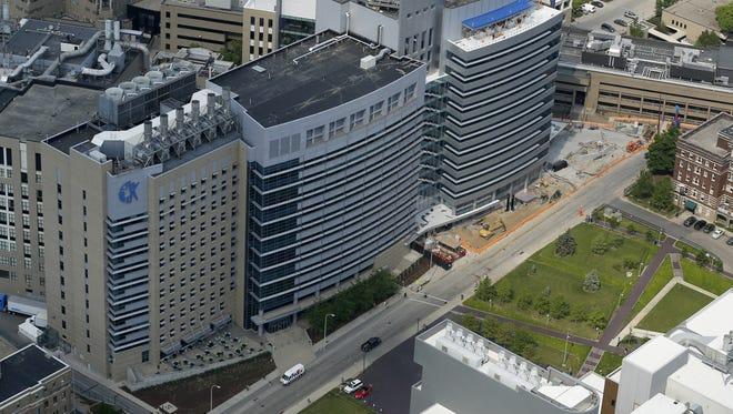 A May 2015 aerial photo of Cincinnati Children's Hospital Medical Center