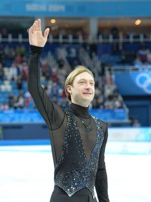 Evgeni Plushenko of Russia after the team ice dance free dance.