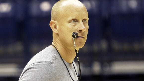 Xavier head coach Chris Mack during practice Oct. 6.
