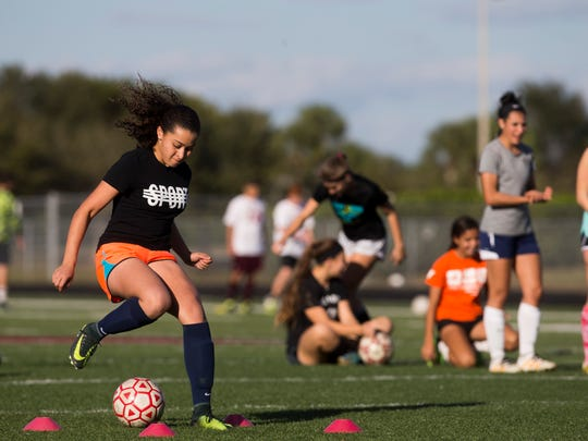 First Baptist Academy junior Malaya Melancon, shown during her freshman season when she scored 46 goals, has 154 career goals in six varsity seasons. However, she doesn't have a district title, which she hopes to change when the 1A-8 tournament begins this week.