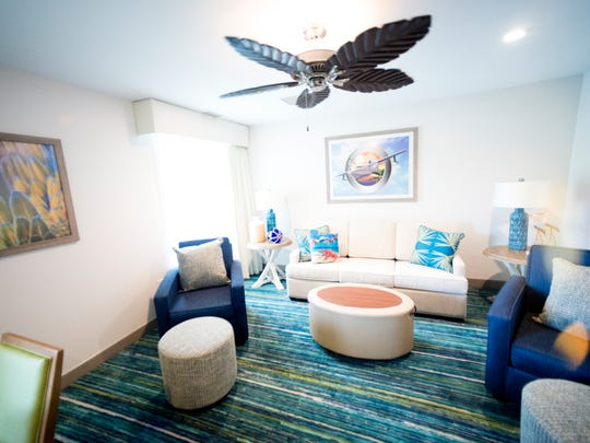 The living room area in the king suite during an exclusive sneak peek inside the all-new Margaritaville Resort in Gatlinburg, Tennessee on Wednesday, June 27, 2018. The resort, which features 163 rooms, a pool, spa and bar is scheduled to open on June 28.