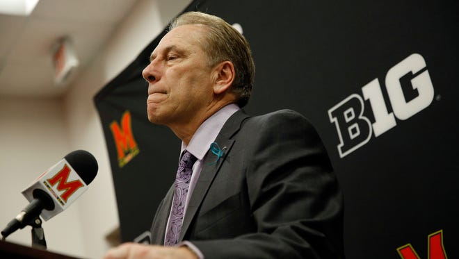 Michigan State head coach Tom Izzo answers a question during Sunday's postgame press conference at Maryland.