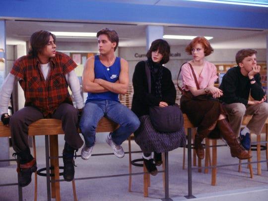 Judd Nelson, left, Emilio Estevez, Ally Sheedy, Molly