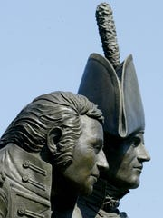 A statue of the famous explorers, Lewis and Clark, a site in northwest Iowa.