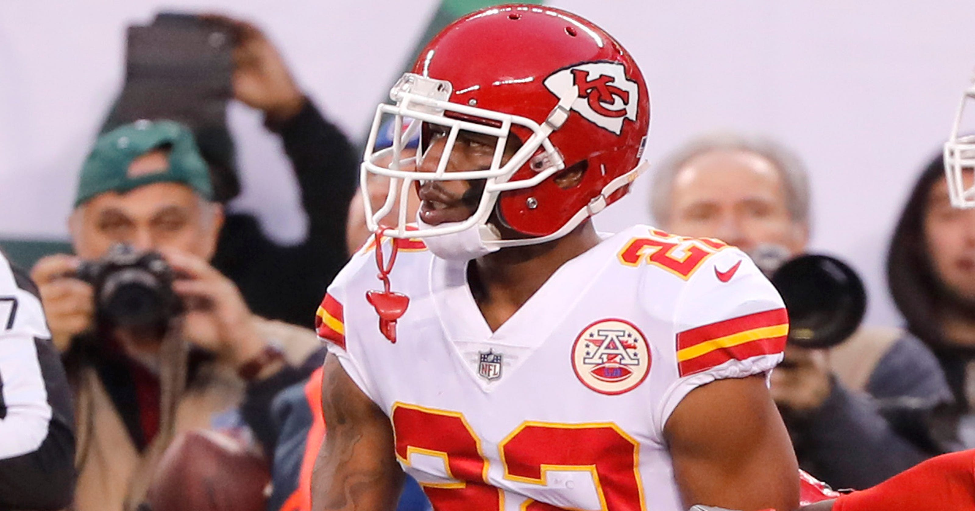 competitive price bd54a 36a98 Chiefs cornerback Marcus Peters fined for throwing flag into ...