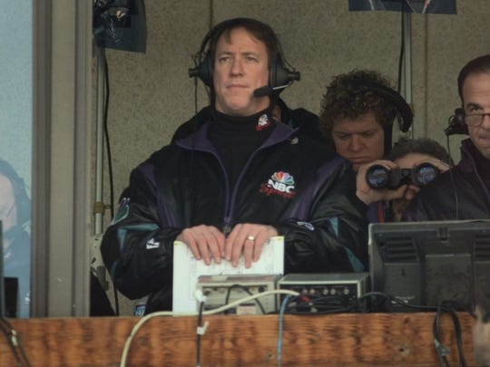 Jim Kelly in the NBC booth during a game Dec. 14, 1997.