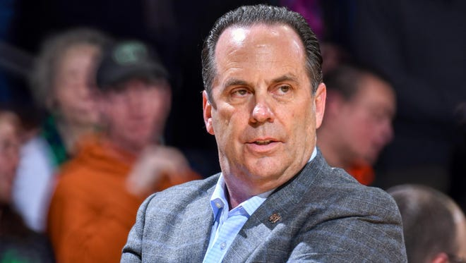 Mar 1, 2017; South Bend, IN, USA; Notre Dame Fighting Irish head coach Mike Brey watches in the first half against the Boston College Eagles at the Purcell Pavilion. Mandatory Credit: Matt Cashore-USA TODAY Sports