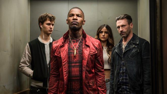 Gearheads will dig the heist flick 'Baby Driver,' starring Ansel Elgort, left, Jamie Foxx, Eiza Gonzalez and Jon Hamm.