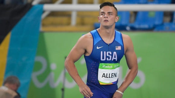Aug 15, 2016; Rio de Janeiro, Brazil; Devon Allen (USA) competes during the first round of men's 110m hurdles in track and field competition in the Rio 2016 Summer Olympic Games at Estadio Olimpico Joao Havelange. Mandatory Credit: Kirby Lee-USA TODAY Sports