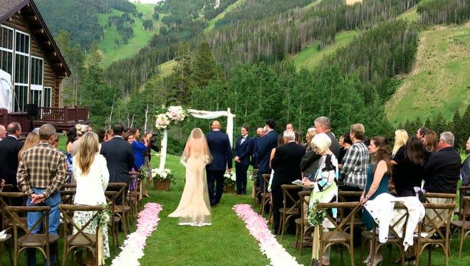 Setting for the Madden-Hackworth wedding, Beano's on Beaver Creek Mountain, Colo.