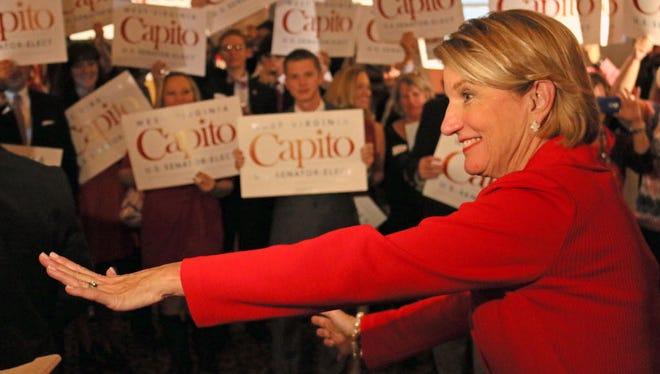 West Virginia Republican Sen.-elect Shelley Moore Capito celebrates on Nov. 4, 2014, at the Embassy Suites in Charleston, W.Va.