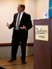 Americans for Tax Reform President Grover Norquist speaks on Thursday, Sept. 7, 2017, at the Lansing Radisson Hotel. Norquist spoke as part of the Mackinac Center for Public Policy's Issues and Ideas event.